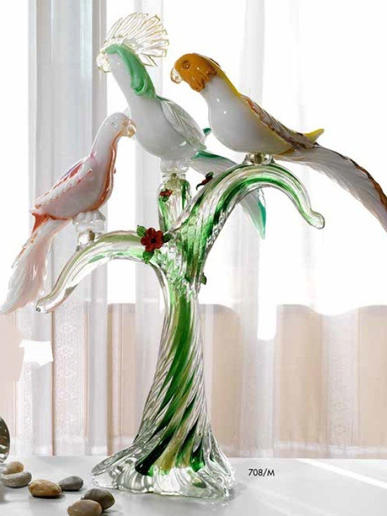 Murano Glass Sculptures and Figurines - Murano Glass 3 parrots on branch - COA and made to order.  More available so please contact us