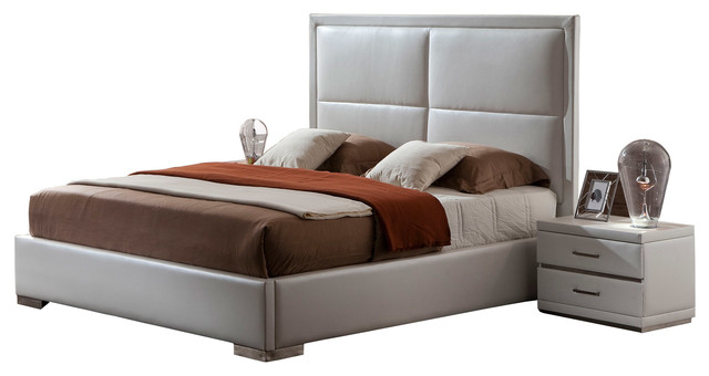 Aries White Leather Platform Bed Queen Contemporary Platform