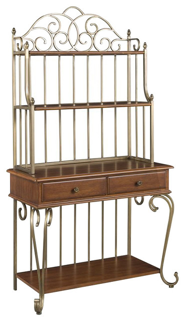 Home Styles St. Ives Bakers Rack in Cinnamon transitional-display-and-wall-shelves