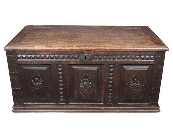 Pre-owned 19th C. French Trunk - 19th-c. French trunk featuring three panels with a floral motif and iron hardware. Unfortunately, no key to fit its heart shaped hardware.