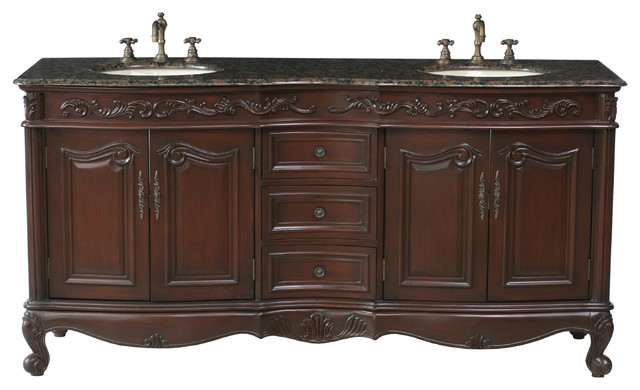 72 Saturn Double Sink Vanity With Baltic Brown Granite Top Traditiona