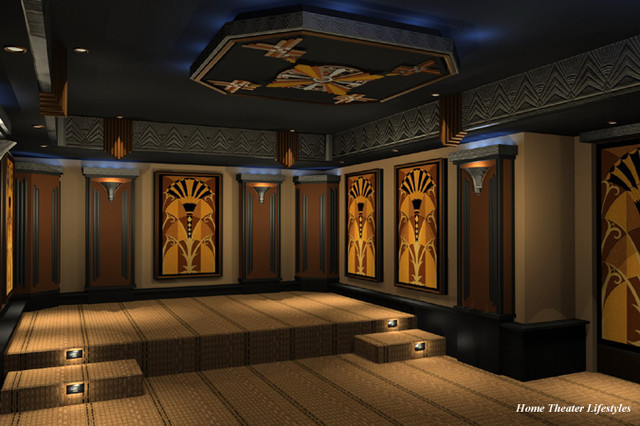 Art Deco Home Theater Contemporary Rendering New