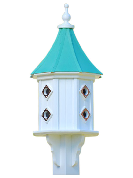 "Vinyl Dovecote Birdhouse - Dovecote birdhouse adds curb appeal to your place with an impressive 36"" stature from base to finial. Never a worry of rotting, cracking, splitting or fading... guaranteed!"