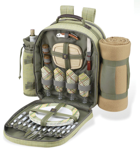 Hamptons Picnic Backpack with Blanket for Four - Contemporary - Picnic Baskets - by ...
