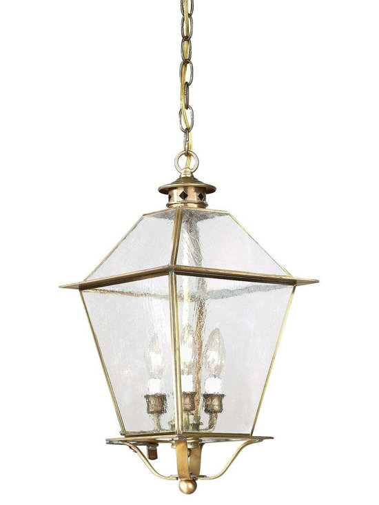 """Troy Lighting Montgomery 3-Light Outdoor Pendant in Brass - Troy Lighting presents the Montgomery Collection's 3-Light outdoor hanging lantern. This fixture comes in a Natural Aged Brass finish, and is constructed from Solid Brass. Dimensions: 20.75"""" high by 10.25"""" wide."""