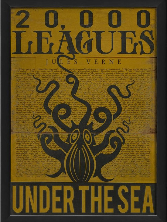 The Artwork Factory - 20000 Leagues Under the Sea Framed Artwork - Ready-to-Hang, 100% Made in the USA, museum quality framed artwork