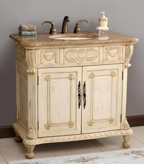 Virtu USA Casablanca Antique Ivory Cream Marfil Single Sink Bathroom Vani