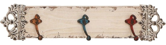 Metal Wall Hook in Rich Ivory Finish and Elegant Design traditional-wall-hooks