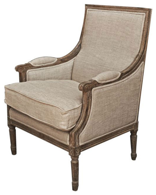 Light Burnt Oak Vintage French Arm Chair Traditional