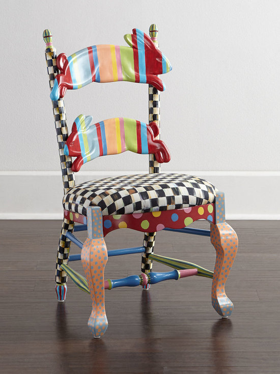 "MacKenzie-Childs - Wee Children's Rabbit Chair - MULTI COLORS - MacKenzie-ChildsWee Children's Rabbit ChairDetailsHandcrafted child's chair.Hardwood base with resin mold animal rungs.Fabric-upholstered foam seat.Hand painted with nontoxic oil-based paints.Due to the nature of handcrafting chairs may vary slightly.19""W x 18.75""D x 29.75""T.Imported.Boxed weight approximately 27 lbs. Please note that this item may require additional delivery and processing charges.Designer About MacKenzie-Childs:Established in 1983 MacKenzie-Childs combines vibrant colors and patterns to create a whimsical collection of tableware furniture and decorative accessories that epitomize ""tradition with a twist."" The company's designers draw inspiration from the pastoral setting of their studios located on a 65-acre former dairy farm in Aurora New York."