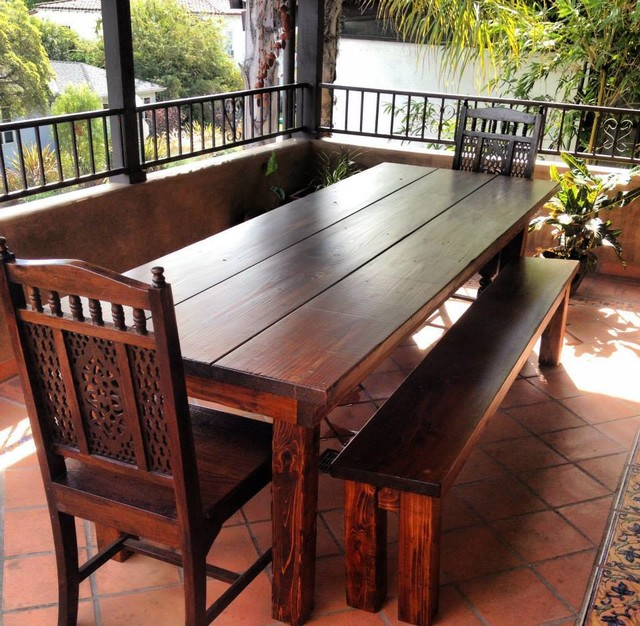 8ft Outdoor Farmhouse Dining Table - Rustic - Dining ...