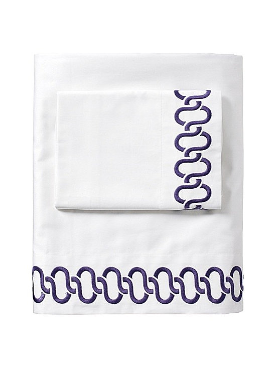Serena & Lily - Royal Purple Savoy Links Embroidered Sheet Set - These sheets are a fun way to make a subtle yet chic statement in the bedroom. They're perfect for a teen girl's room.