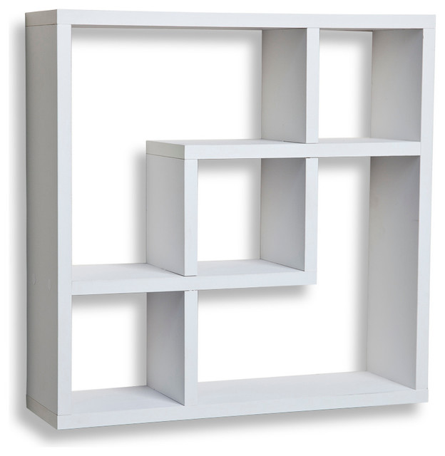 Geometric Square  Wall Shelf with 5 Openings, White contemporary-display-and-wall-shelves