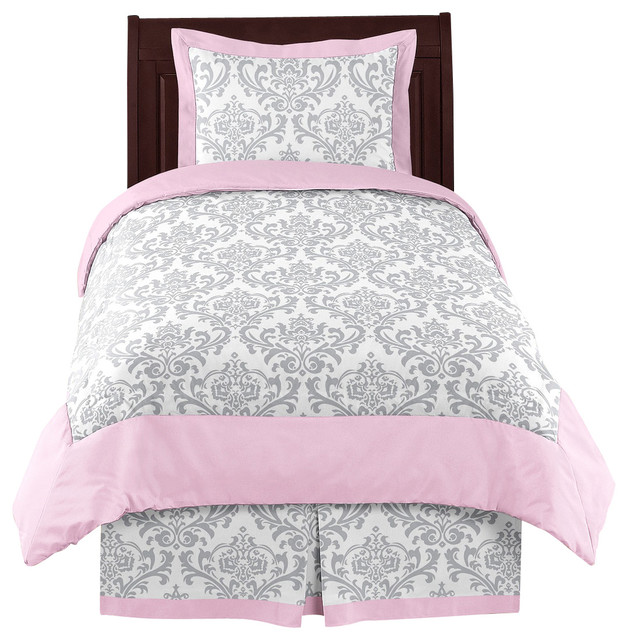 elizabeth pink and gray damask 4 piece twin bedding set by sweet jojo designs traditional. Black Bedroom Furniture Sets. Home Design Ideas