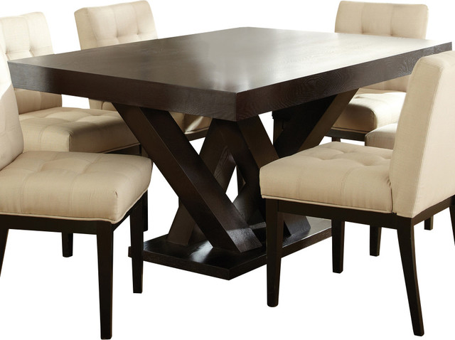 Steve silver tiffany pedestal dining table in espresso traditional dining tables by beyond - Espresso kitchen table ...