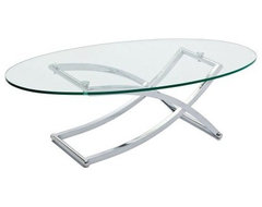 East End Imports Criss Cross Oval Glass Top Coffee Table modern-coffee-tables