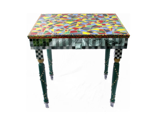 Eco Friendly Furnture and Lighting - Made from solid wood, hand painted and stained, glass tile broken mosaic with gold glitter grout and resin finish for durability. The mosaic top is surrounded by trim which was hand painted and sits above mirror and glass mosaic sides with beveled mirror accents. Legs are finished with brass nail heads.