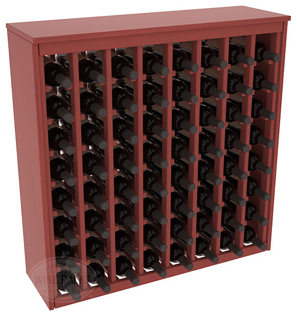 64 Bottle Deluxe Wine Rack in Pine with Cherry Stain + Satin Finish contemporary-wine-racks