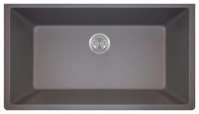 MR Direct 848 Trugranite Large Single Bowl, Silver modern-kitchen-sinks