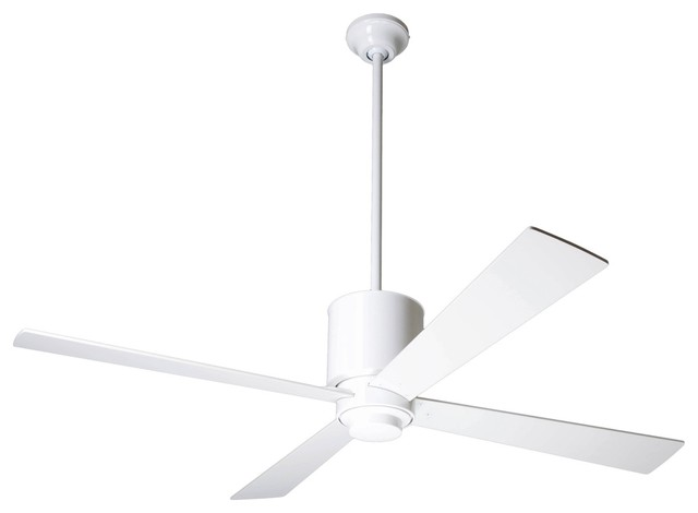 52 lapa gloss white ceiling fan contemporary ceiling for White contemporary ceiling fans with lights
