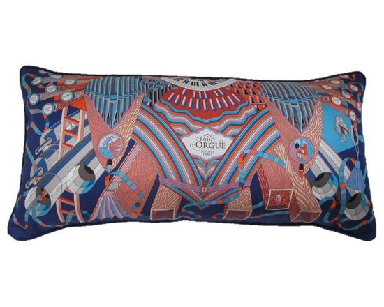 Pretty Pillows - Beautifully crafted from the Hermes Pont D' Orgue scarf.  Measures 16x33.