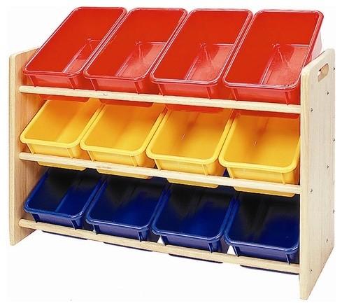 3 tier toy storage dowel rack with 12 primary bins. Black Bedroom Furniture Sets. Home Design Ideas