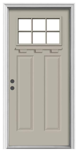 Jeld Wen 6 Lite Craftsman Painted Steel Entry Door With