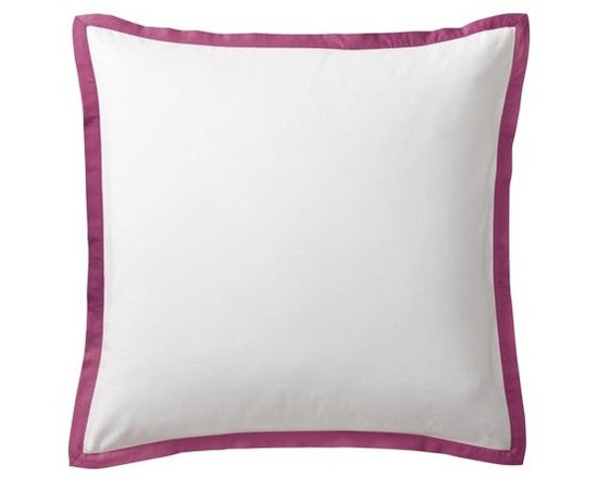"""Serena & Lily - Berry Border Frame Euro Sham - A clean, simple design for those who crave a quieter bed. Sham features crisp 300-thread-count 100% cotton sateen with 1"""" band in Berry."""