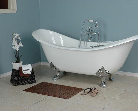 Double Slipper Clawfoot tub - Bella Casa 72 inch Cast Iron Double Slipper Tub