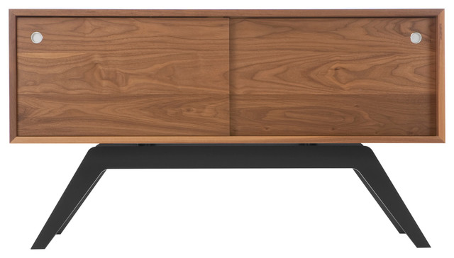 Elko Credenza Small, Walnut, Black Base midcentury-buffets-and-sideboards
