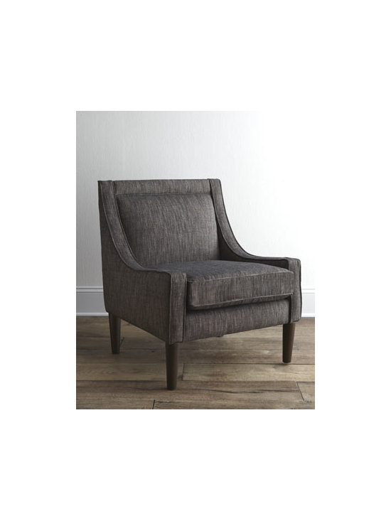 Horchow - Norton Chair - An updated version of the swoop armchair, this contemporary chair features low contoured arms, plump cushions, and cone legs. With its tailored, charcoal-gray upholstery, it makes a welcome addition to a bedroom, den, living room, or office. Solid pine...