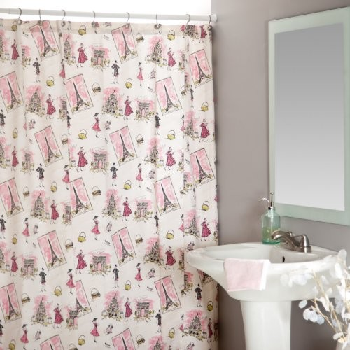 tres chic black pink shower curtain contemporary