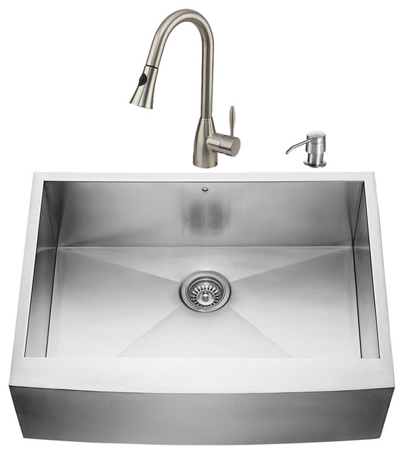 VIGO Farmhouse Stainless Steel Kitchen Sink Faucet and Dispenser Modern