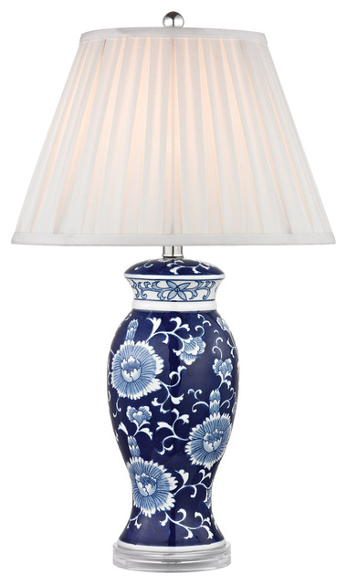28 blue white ceramic table lamp in hand painted blue. Black Bedroom Furniture Sets. Home Design Ideas