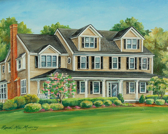 Architectural House Portraits - Custom designed architectural house portraits painted in watercolor & oil by artist, Renee' MacMurray  of MacMurray Designs