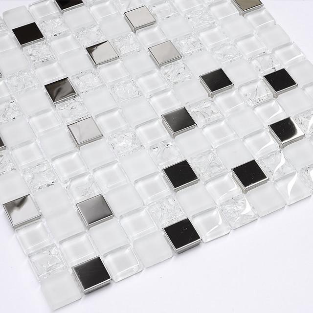 modern white glass metal mosaic backsplash tile 12 x12