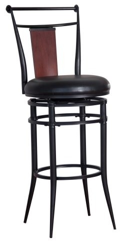 Hillsdale Midtown 30 in. Swivel Wood Back Bar Stool - Black/Dark Cherry traditional-bar-stools-and-counter-stools