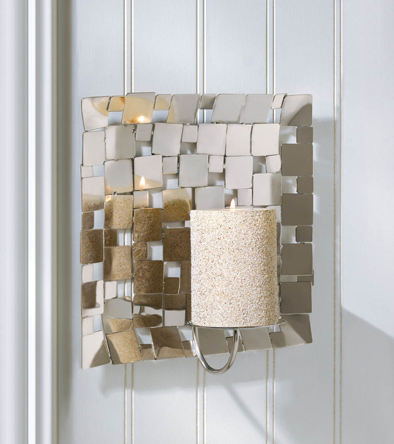 malibu creations modern silver mosaic wall sconce contemporary candles and candleholders. Black Bedroom Furniture Sets. Home Design Ideas