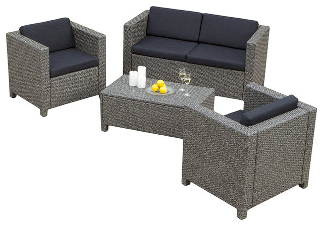 Venice 4 piece outdoor wicker sofa set contemporary for Great deals on outdoor furniture