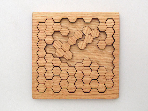 Wooden Honeycomb Puzzle Geometric Shapes by TimberGreenWoods modern-accessories-and-decor