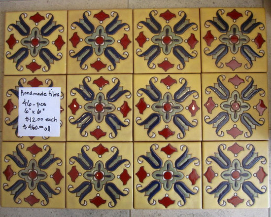 "SALE - IN STOCK - Malibu-style handglazed tiles, gorgeous warm colors. 6""x 6"" ceramic tiles, 46-pcs. Great for fireplace surround, kitchen backsplash, outdoor wall accents, outdoor bbq, fountain..."