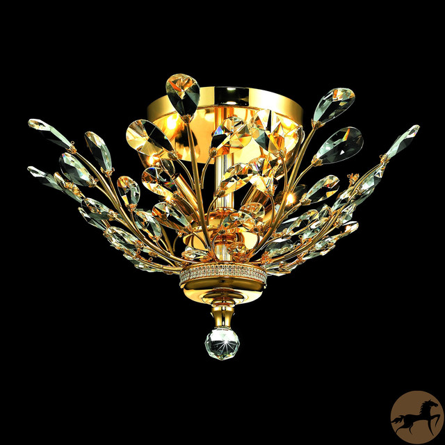 Christopher Knight Home Crystal 4-light Gold Chandelier Flush Mount contemporary-chandeliers