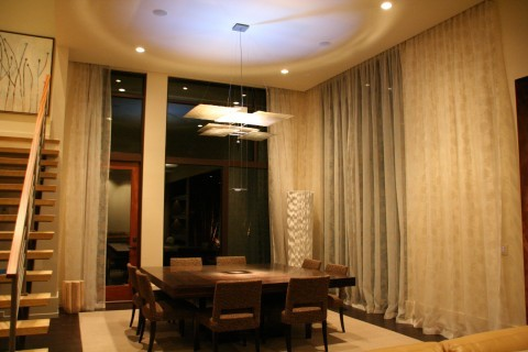 Embroidered Sheers in Dining Area contemporary-dining-room