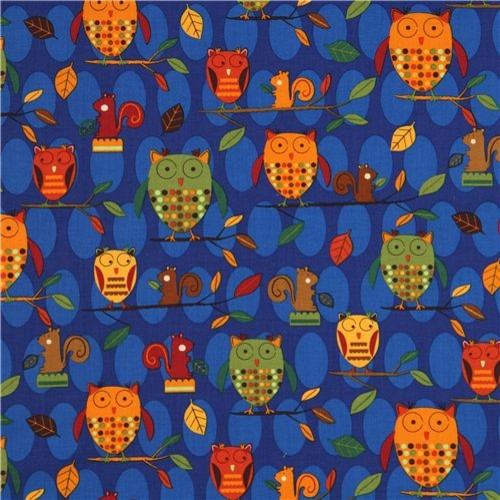 blue owls squirrel fabric Robert Kaufman fabric