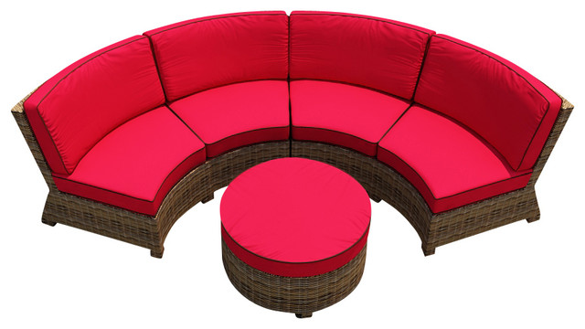 Cypress 3 Piece Curved Patio Sectional Set Flagship Ruby