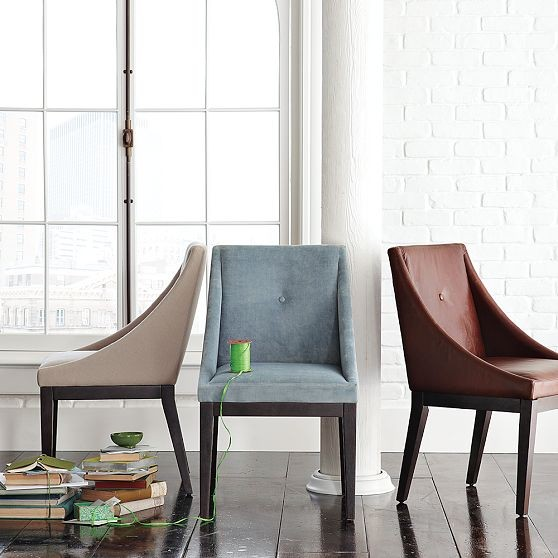 Curved upholstered chair west elm contemporary for Upholstered dining chairs contemporary