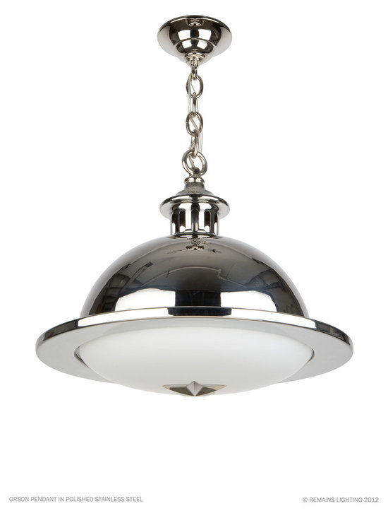 Remains Lighting - Orson Pendant by Remains Lighting - A domical brass or stainless pendant light, with a milk glass lens supported by a five point star. Shown in Polished Stainless.