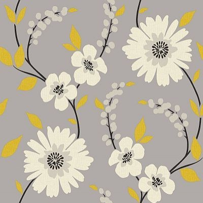 stansie grey yellow wallpaper