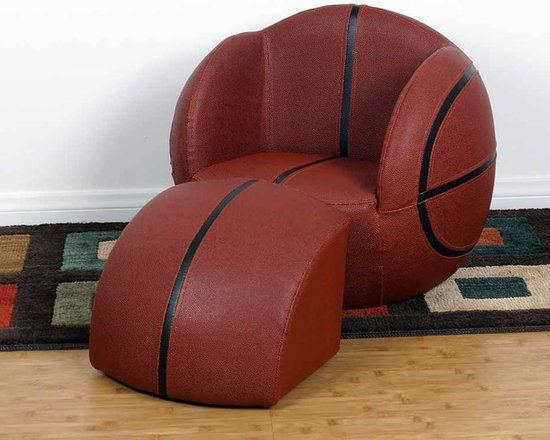 Kids Furniture - Give your little Basketball fan the best seat in the house with this chair and ottoman set. Featuring soft faux leather and thick padded cushion, with sturdy wooden bases. It can be easily cleaned with mild soap and water. Sized perfectly for children.
