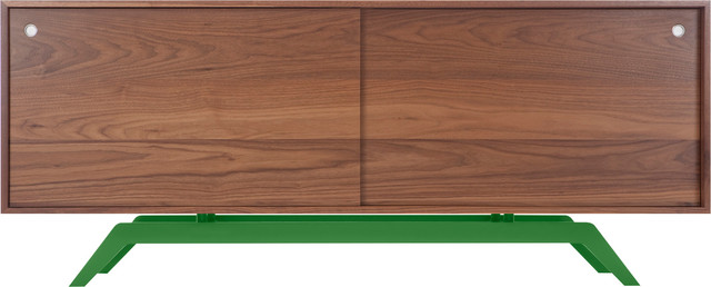 Elko Credenza, Walnut, Green Base midcentury-buffets-and-sideboards
